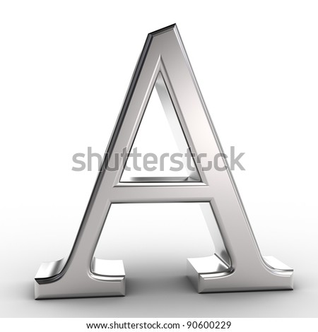 Letter A, isolated on white background.