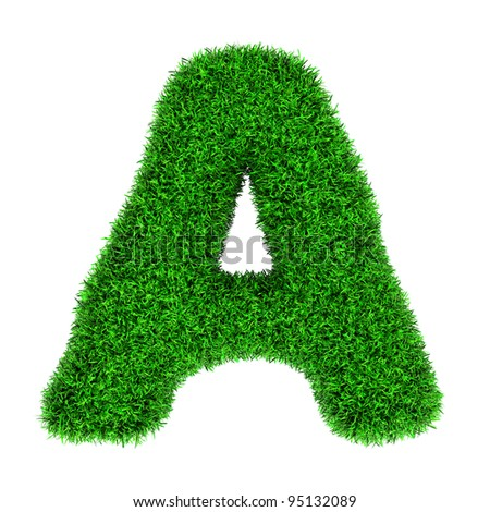 Letter A, made of grass isolated on white background. - stock photo