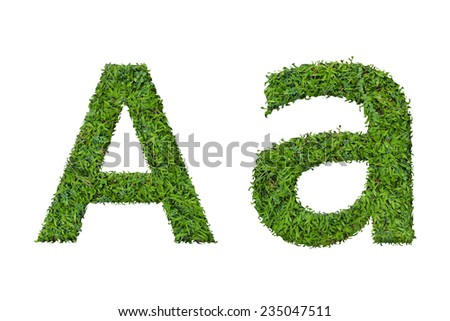 Letter A made of green grass isolated on white