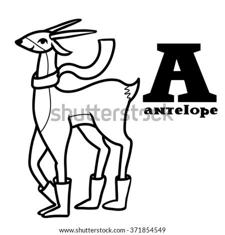 Letter a. Part of animals alphabet. Cartoon antelope wearing boots ang scarf. Coloring black and white. - stock photo