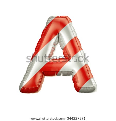 Letter A. Red and white Balloon font isolated on White Background.Birthday alphabet. - stock photo