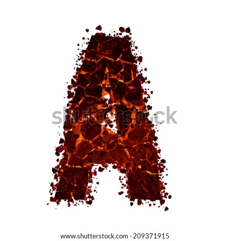 Letter A. Red burning fire alphabet isolated on white background. - stock photo