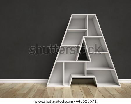 Letter A shaped shelves 3d rendering - stock photo