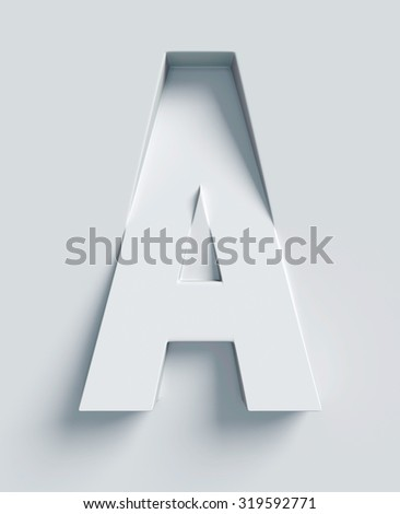 Letter A slanted 3d font engraved and extruded from the surface - stock photo