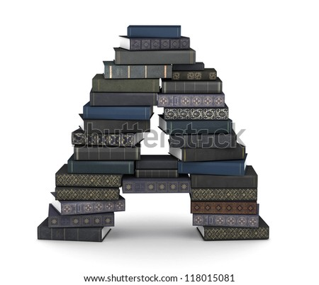 Letter A, stacked from many  books in pile - stock photo