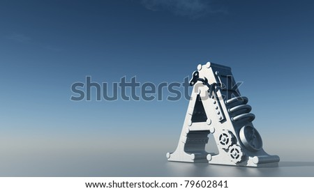 letter a under blue sky - 3d illustration - stock photo