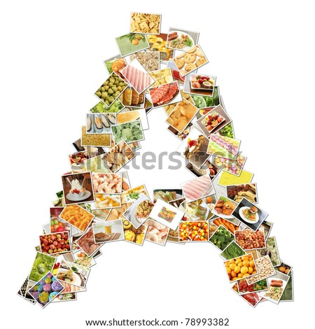 Letter A with Food Collage Concept Art - stock photo