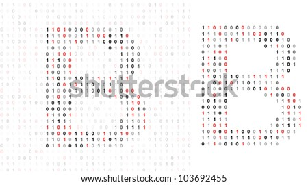 Letter B, alphabet from binary code listing
