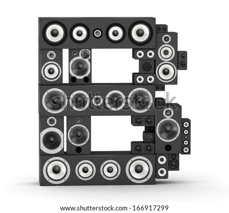 Letter B from black hi-fi speakers sound systems - stock photo