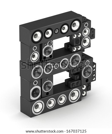 Letter B from black hi-fi speakers sound systems  in isometry - stock photo