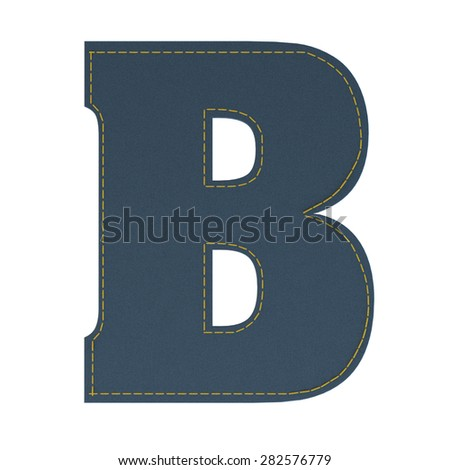 letter B from denim - jeans, on a white background, high specification of fabric, it is stitched by the yellow high-detailed threads - stock photo