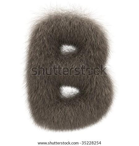 Letter B from fur alphabet - stock photo