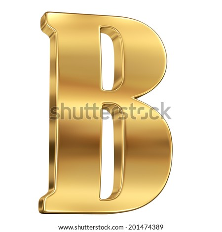 Letter B from gold solid alphabet. - stock photo