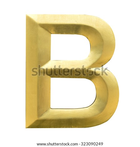 Letter B from Gold solid alphabet. There is a clipping path - stock photo
