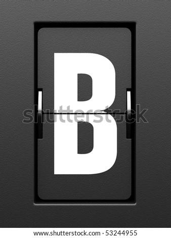 Letter B from mechanical scoreboard alphabet - stock photo