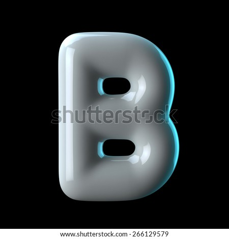 Letter B from round white blue light alphabet. There is a clipping path - stock photo