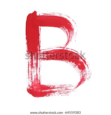 Letter B handwritten paint stroke sketch. Red Isolated on white background. One from collection set. - stock photo