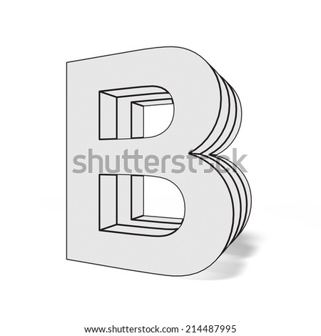 letter b isolated on white background - stock photo