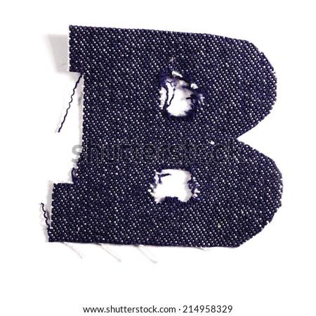 Letter B. Jeans alphabet Isolated on White. Handmade font. - stock photo