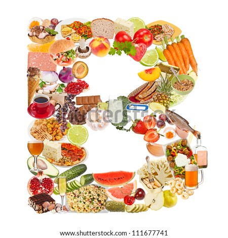 Letter B made of food isolated on white background