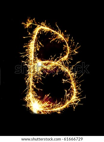 Letter B made of sparklers - stock photo
