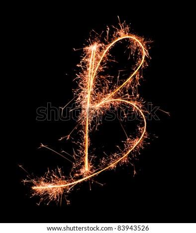 Letter B. Real sparkler alphabet - stock photo