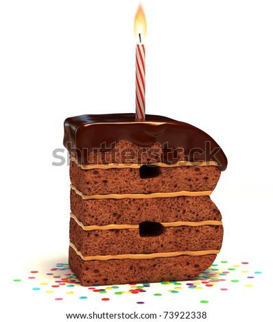 "letter ""B"" shaped chocolate birthday cake with lit candle and confetti isolated over white background - stock photo"