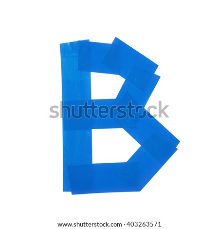 Letter B symbol made of insulating tape pieces, isolated over the white background - stock photo