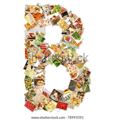 Letter B with Food Collage Concept Art - stock photo
