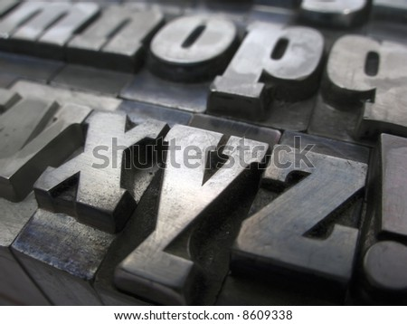 Letter blocks for lead typesetting - stock photo