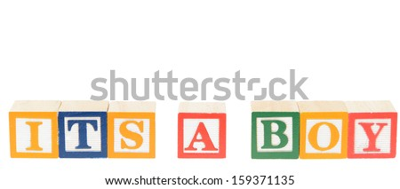 Letter blocks spelling its a boy. Isolated on a white background.