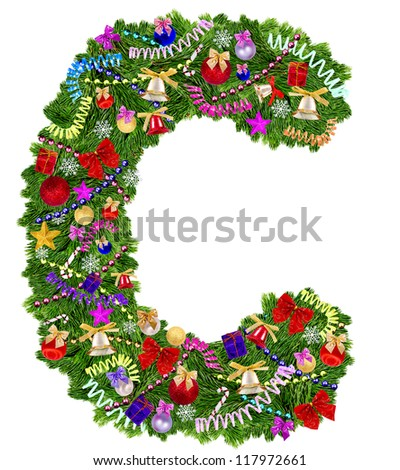 Letter C. Christmas tree decoration on a white background - stock photo