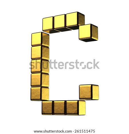Letter C from big cube gold perspective alphabet. There is a clipping path - stock photo