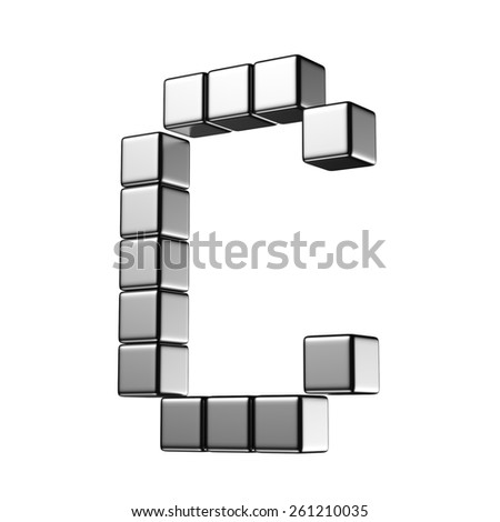 Letter C from digital cube middle perspective alphabet. There is a clipping path - stock photo