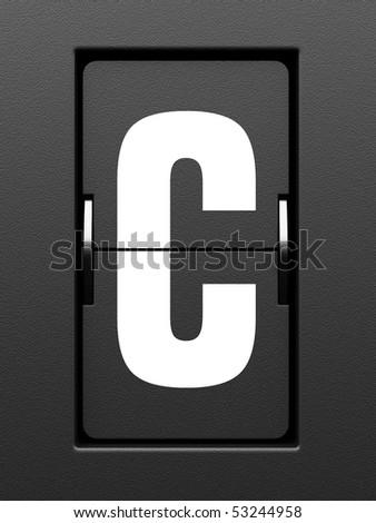 Letter C from mechanical scoreboard alphabet - stock photo
