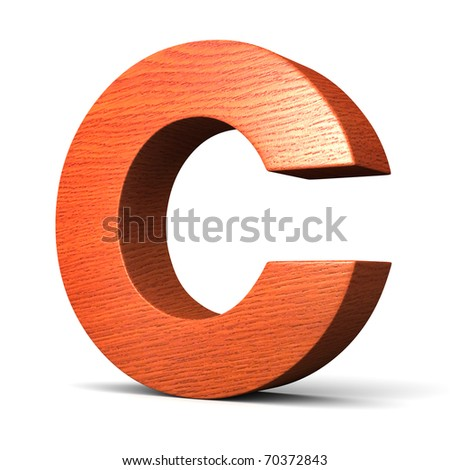 Letter C from redwood alphabet. There is a clipping path - stock photo