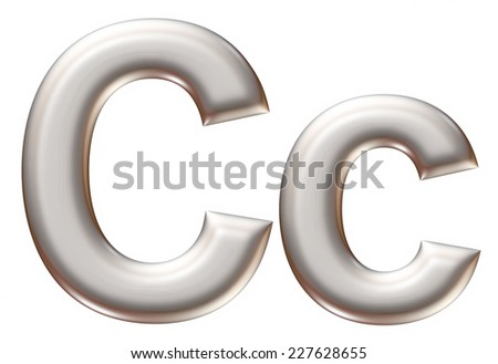 Letter C from silver alphabet on isolated white.