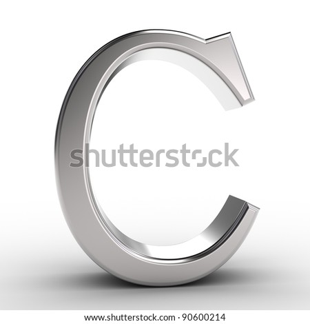 Letter C, isolated on white background.