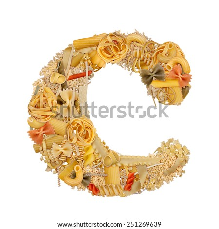 Letter C made from pasta isolated on white - stock photo