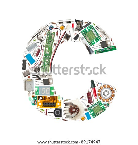 Letter 'C' made of electronic components isolated in white background - stock photo
