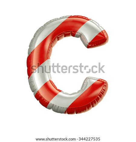Letter C. Red and white Balloon font isolated on White Background.Birthday alphabet. - stock photo