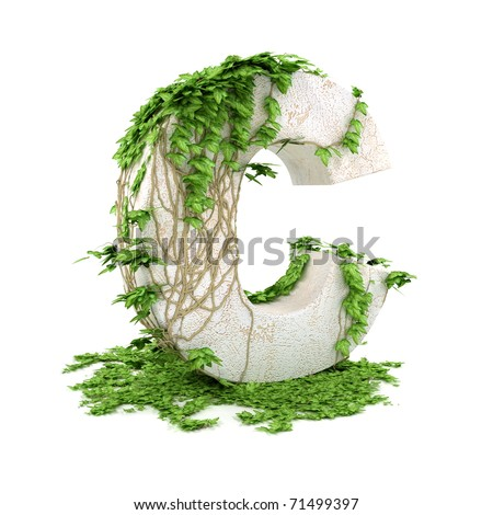 Letter C threads covered with ivy isolated on white background. - stock photo