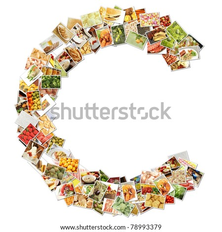 Letter C with Food Collage Concept Art - stock photo