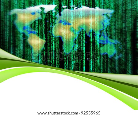 Letter code by the long green matrix background - stock photo