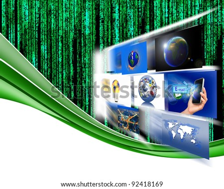 Letter code by the long green power and connectivity. - stock photo