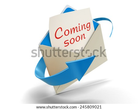 Letter coming soon (clipping path included) - stock photo