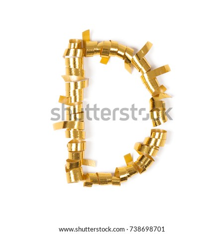 Letter d alphabet letters objects gold stock photo edit now letter d alphabet letters from objects gold gift ribbons on a blank white background altavistaventures Images