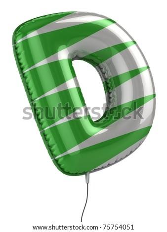 letter D balloon 3d illustration - stock photo