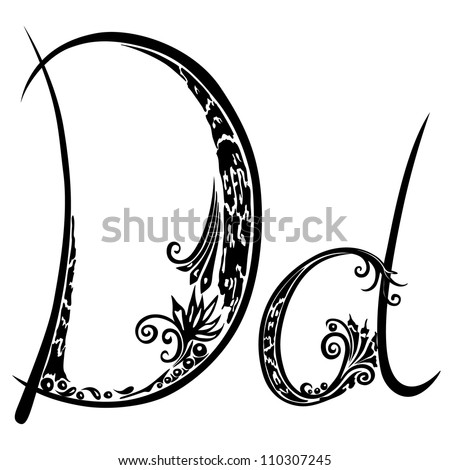 Letter D d in the style of abstract floral pattern on a white background - stock photo