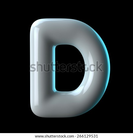 Letter D from round white blue light alphabet. There is a clipping path